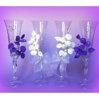 Свадебные бокалы со стразами и цветами www.crystalmary.ru