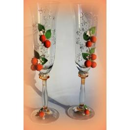 Оформление свадебных бокалов в стиле природы  www.crystalmary.ru