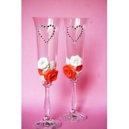 Бокалы для шампанского свадебные  www.crystalmary.ru