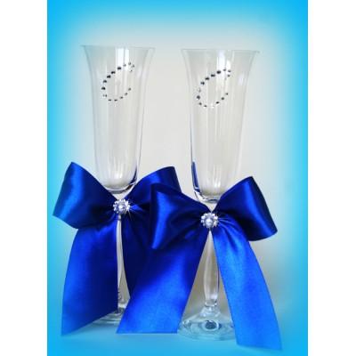 Свадебные бокалы с лентами и инициалами www.crystalmary.ru