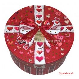 Круглая подарочная коробка с бантом (большая)  www.crystalmary.ru