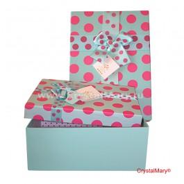 Подарочная коробка голубая с бантом  www.crystalmary.ru