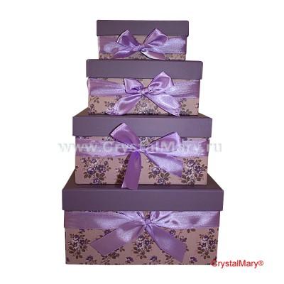 Подарочная коробка сиреневая с бантом www.crystalmary.ru