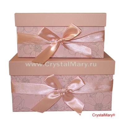 Подарочная коробка с бантом розового цвета www.crystalmary.ru