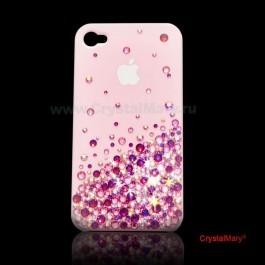 Панель на iPhone 4G розовая россыпь www.crystalmary.ru