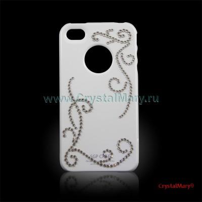 Крышка на iPhone 4G Узор из белых кристаллов www.crystalmary.ru
