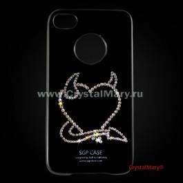 """Чехол SGP черный для iPhone 4 """"Сердце с рожками""""  www.crystalmary.ru"""