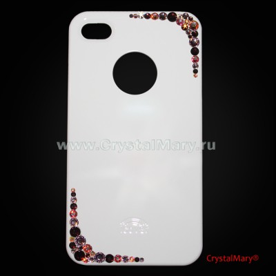 Крышка для iPhone 4G и iPhone 4S россыпь на уголках панели www.crystalmary.ru
