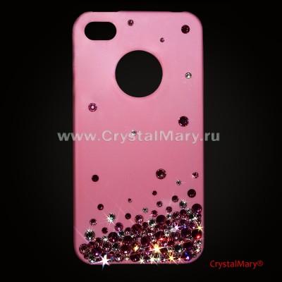 Розовая панель на айфон 4G с разноцветной россыпь кристаллов www.crystalmary.ru