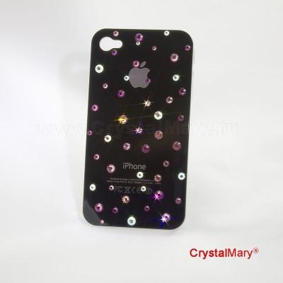 Крышка на iPhone 4G/S черная www.crystalmary.ru