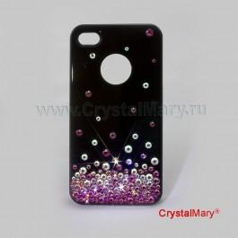 Крышка на iPhone 4G/S розовая россыпь www.crystalmary.ru