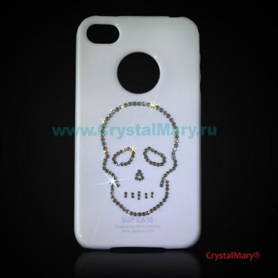Панель iPhone белая: Череп www.crystalmary.ru