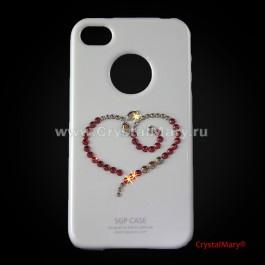 """Чехол SGP для iPhone 4 """"Сердце"""" Swarovski  www.crystalmary.ru"""