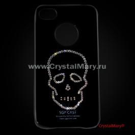 """Чехол SGP для iPhone 4 черный: """"Череп""""  www.crystalmary.ru"""