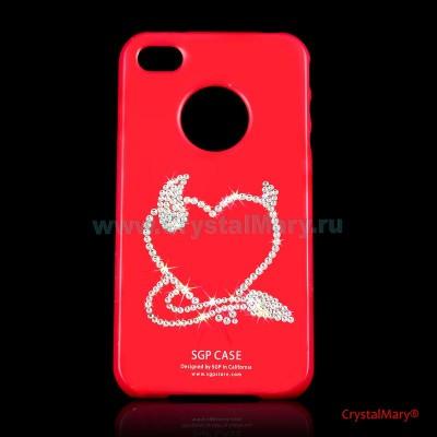 Крышка на iPhone 4G: Сердечко с рожками www.crystalmary.ru