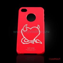 Панель на iPhone 4G красная www.crystalmary.ru