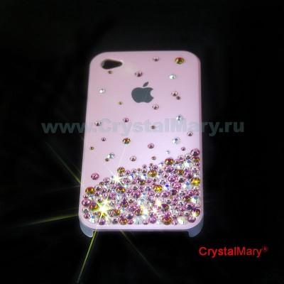 Панель для iPhone Swarovski Розовый дождь www.crystalmary.ru