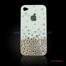 Чехол для iPhone 4 белый с кристаллами Swarovski www.crystalmary.ru