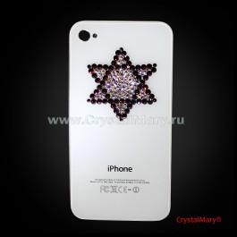 Задняя панель на айфон: Звезда Давида  www.crystalmary.ru
