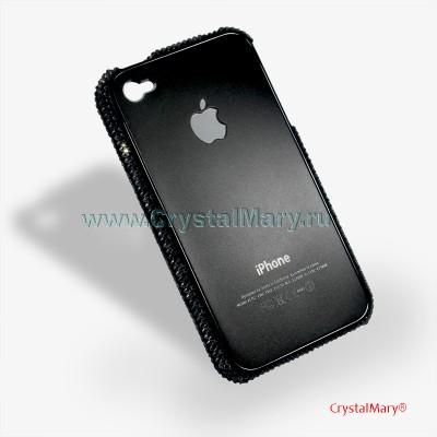 Крышка-бампер iPhone 4 с черными кристаллами www.crystalmary.ru