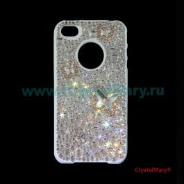 Крышка iPhone Бабочки Хрустальные  www.crystalmary.ru