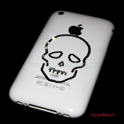 """Череп"" из страз на телефоне www.crystalmary.ru"
