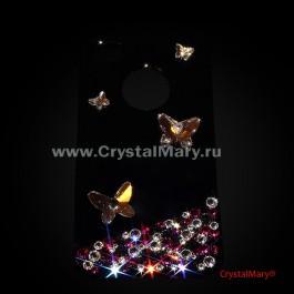 Бабочки и россыпь кристаллов Swarovski на черном www.crystalmary.ru