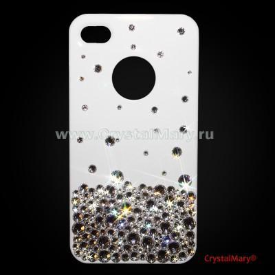 Чехол белый для айфона 4 с бриллиантовой россыпью www.crystalmary.ru