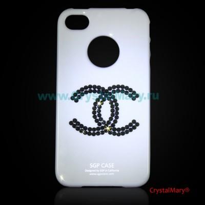 Панель iPhone Шанель в черных бриллиантах www.crystalmary.ru