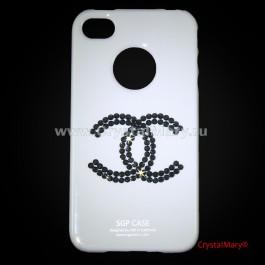 Чехол для iPhone 4 белый с кристаллами Jet Hematite  www.crystalmary.ru