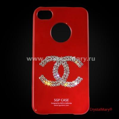SGP для iPhone 4G красная с логотипом Chanel www.crystalmary.ru