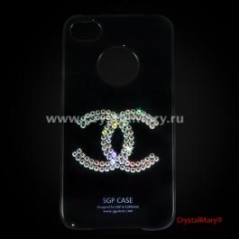Чехол SGP для iPhone 4G черная с логотипом Chanel  www.crystalmary.ru