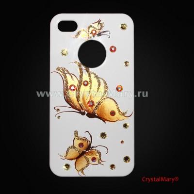 Чехол iСover iPhone 4 и 4S с золотыми бабочками www.crystalmary.ru