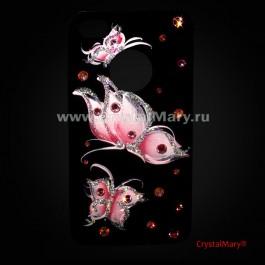 Крышка iPhone 4G и 4S розовые бабочки  www.crystalmary.ru