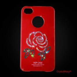 """Крышка SGP для iPhone 4G красная с рисунком """"Роза""""  www.crystalmary.ru"""
