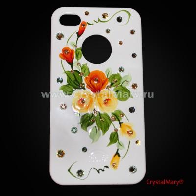 Крышка для iPhone 4 и 4S с цветами www.crystalmary.ru