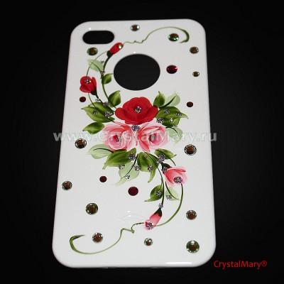 icover для iPhone 4S и 4, цветочки www.crystalmary.ru