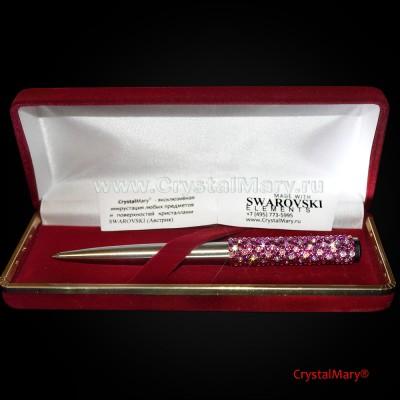 Ручка со стразами: Роза с каплями росы www.crystalmary.ru