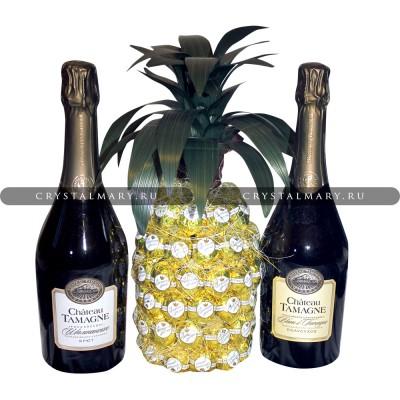Ананас из конфет и шампанского www.crystalmary.ru