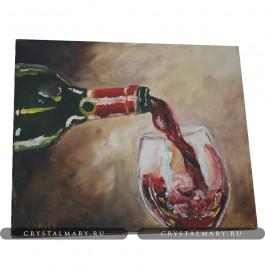 Картина бокал вина  www.crystalmary.ru