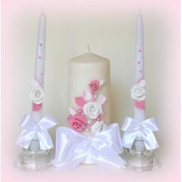 Свечи на свадьбу с розовыми цветами  www.crystalmary.ru