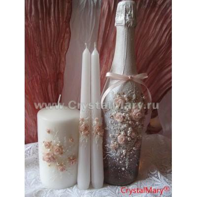 Оформление свадебных свечей www.crystalmary.ru