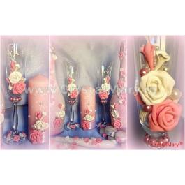 Свадебные свечи розовые  www.crystalmary.ru