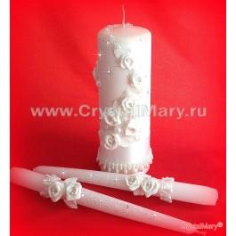 Свадебные свечи белые  www.crystalmary.ru