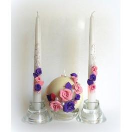 Свадебные свечи круглая свеча  www.crystalmary.ru