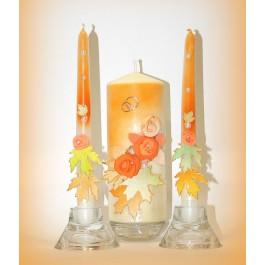 """Свадебные свечи """"Осенний вальс""""  www.crystalmary.ru"""