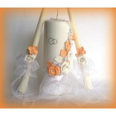 Свадебные свечи с персиковыми цветами  www.crystalmary.ru