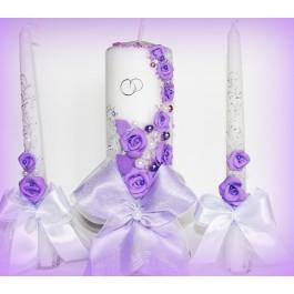 Свадебные свечи сиреневые варианты  www.crystalmary.ru