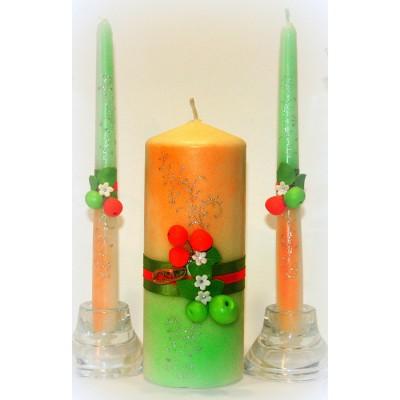 Свадебные свечи с ягодами  www.crystalmary.ru