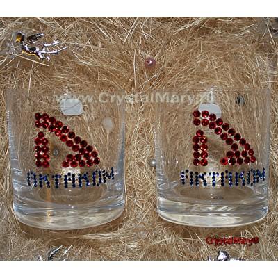 Бокалы с логотипом компании из страз Сваровски (Австрия)  www.crystalmary.ru